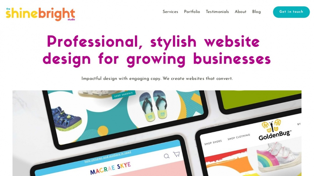 Screenshot of The Shine Bright Studio's Website