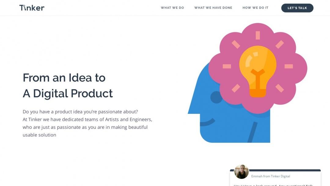Screenshot of Tinker Digital Ltd's Website