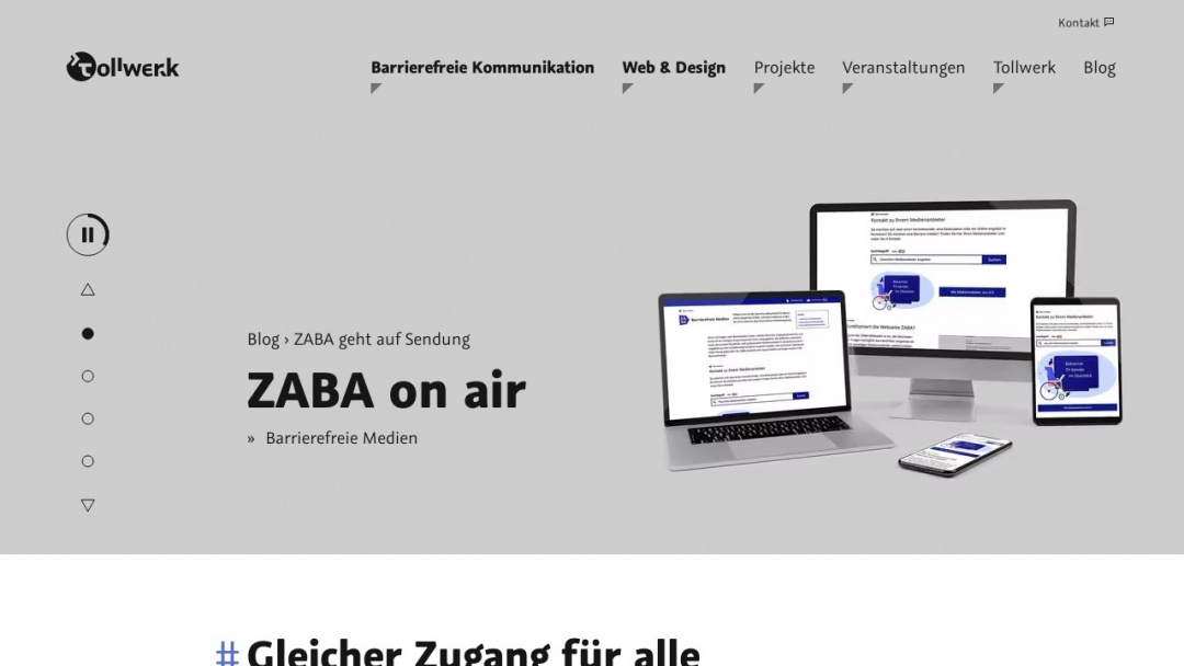 Screenshot of Tollwerk's Website