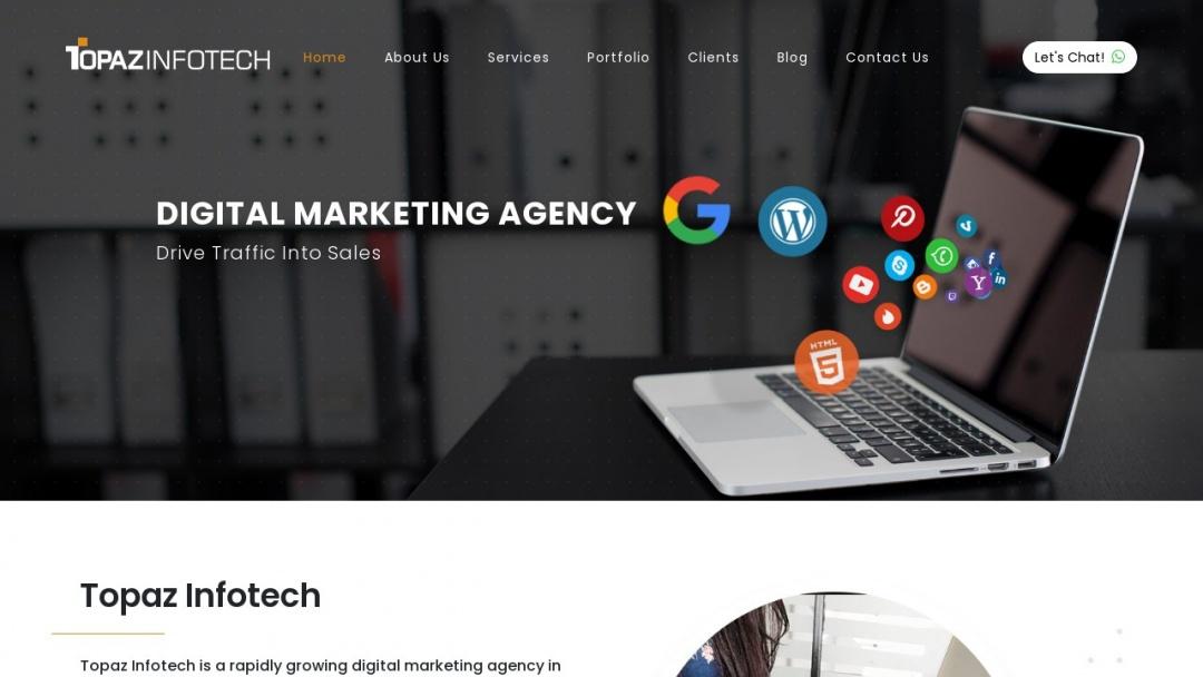 Screenshot of Topaz Infotech's Website