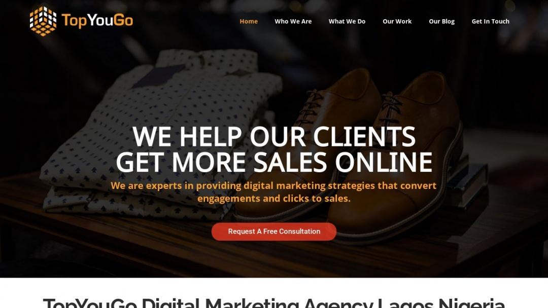 Screenshot of TopYouGo Digital Marketing Agency's Website
