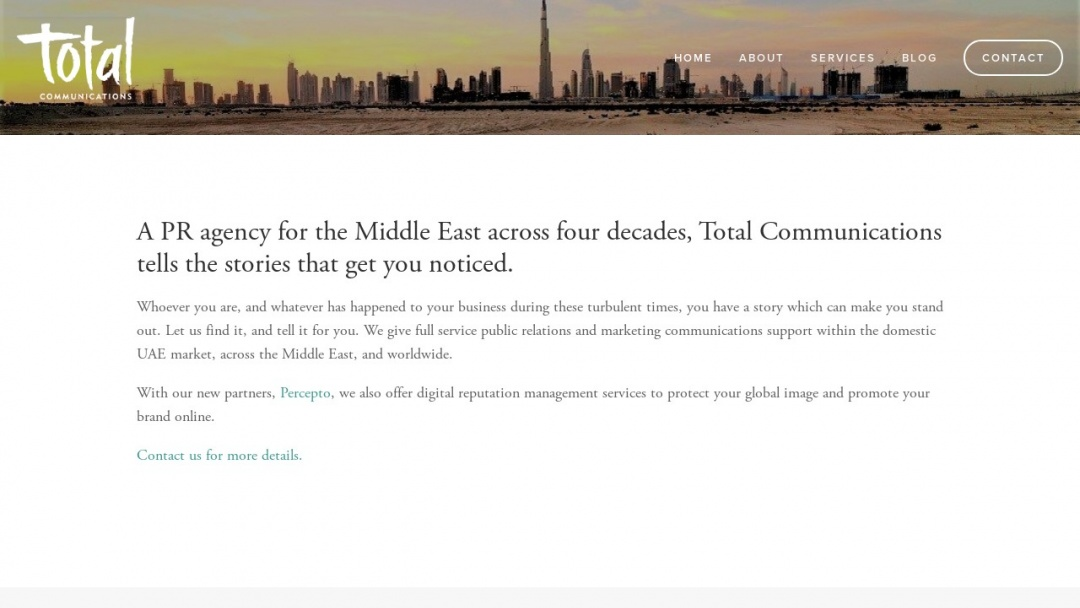 Screenshot of Total Communication's Website