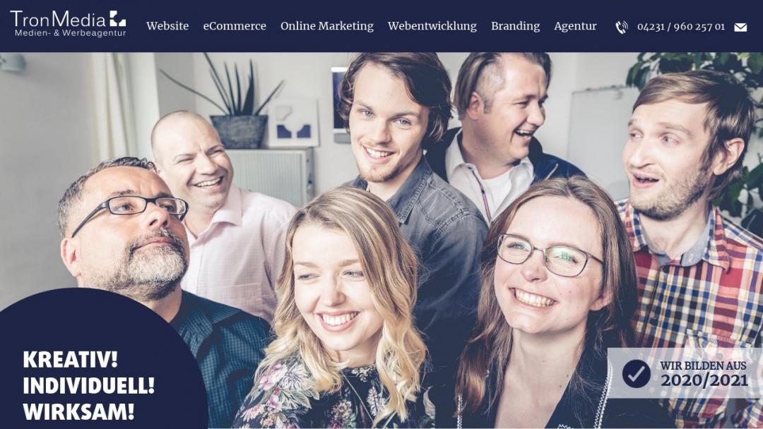 Screenshot of Tron Media's Website