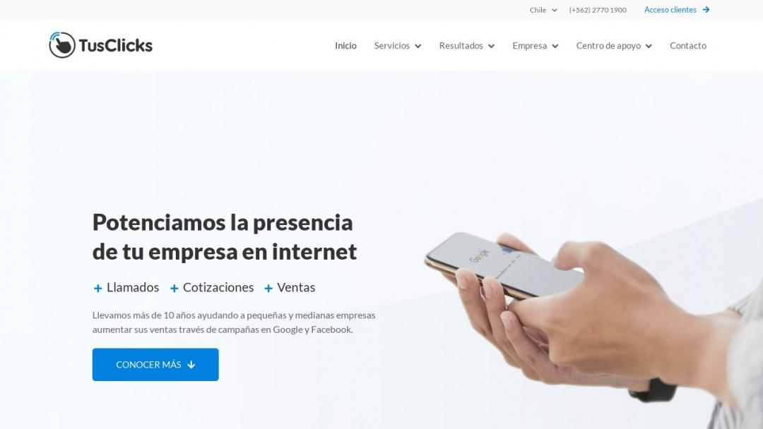 Screenshot of TusClicks Chile's Website