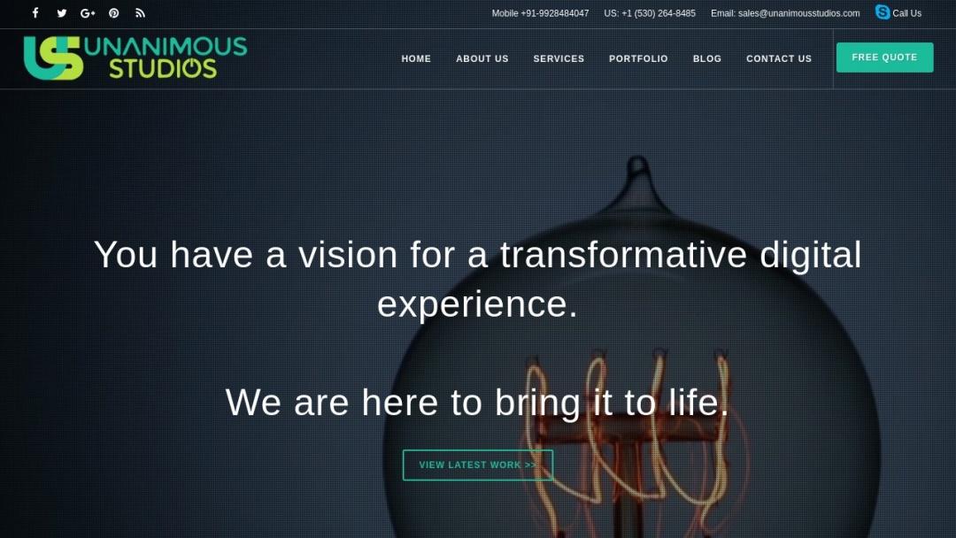 Screenshot of Unanimous Studios's Website