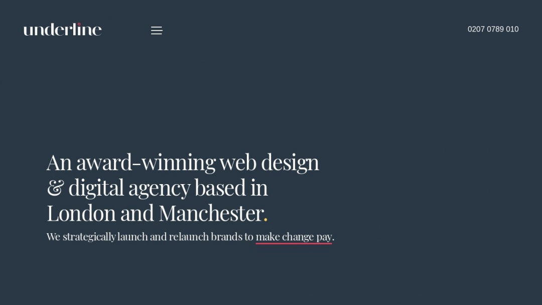 Screenshot of Underline Digital Agency's Website