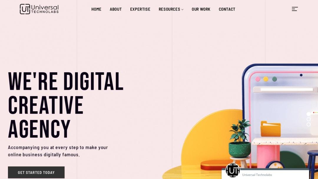 Screenshot of Universal Technolabs's Website