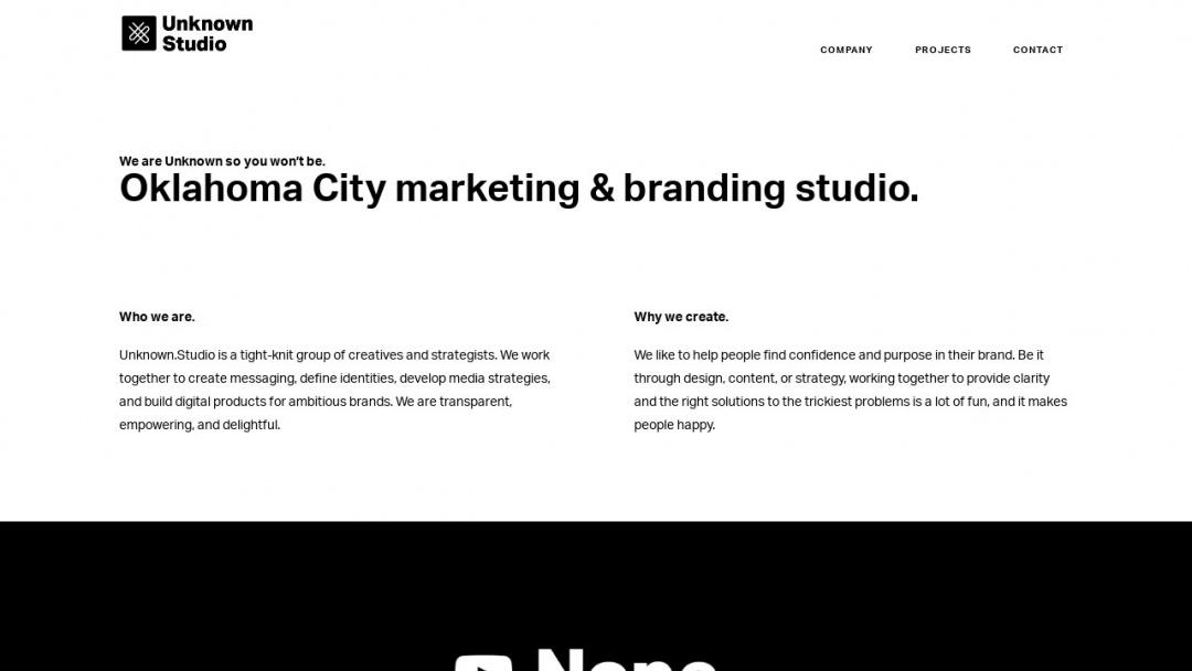 Screenshot of Unknown.Studio's Website