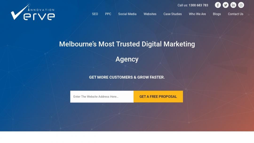 Screenshot of Verve Innovation's Website