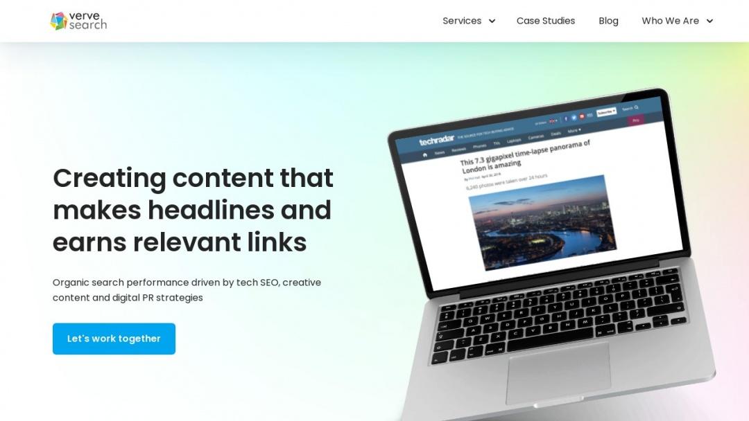 Screenshot of Verve Search's Website