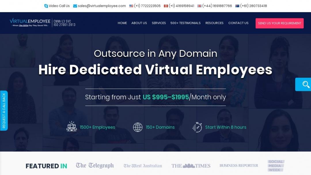 Screenshot of Virtual Employee's Website
