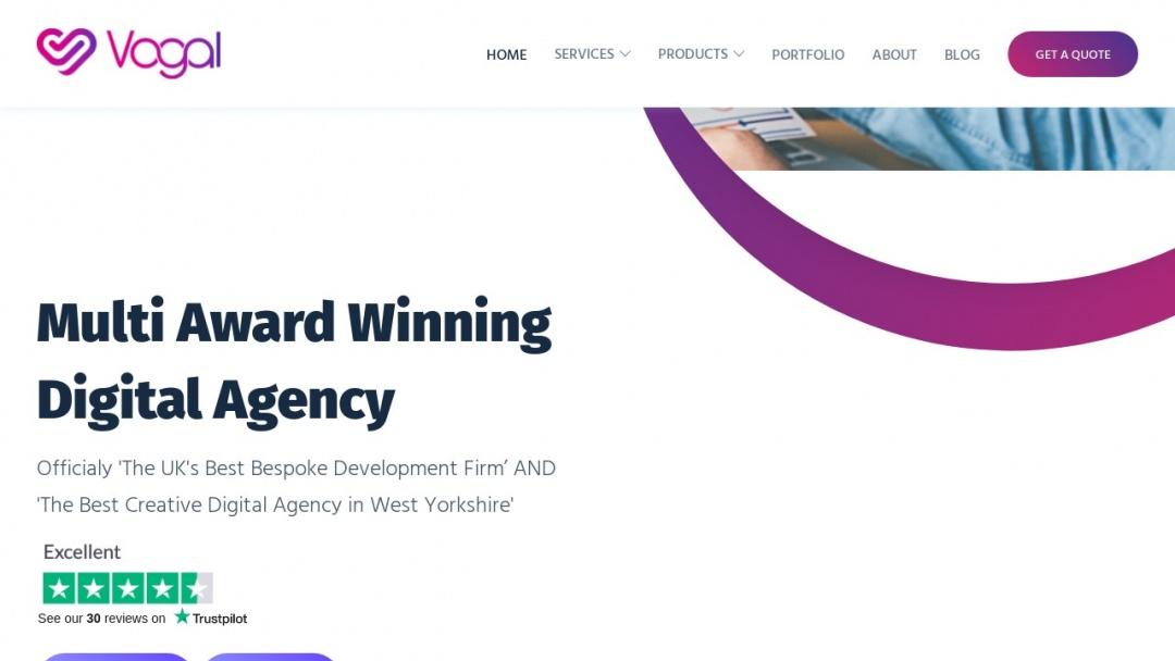 Screenshot of Vogal Digital's Website