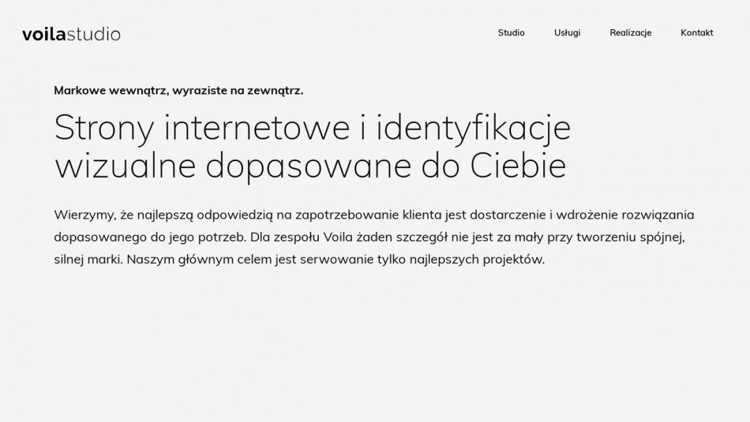 Screenshot of Voila Studio's Website