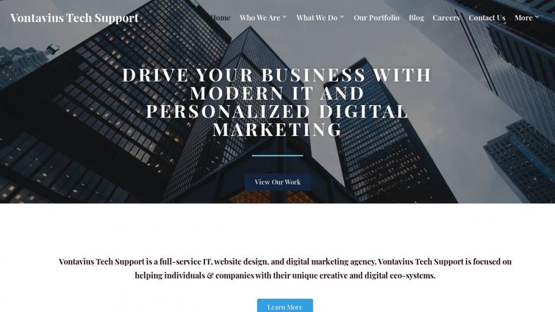 Screenshot of Vontavius Tech Support's Website