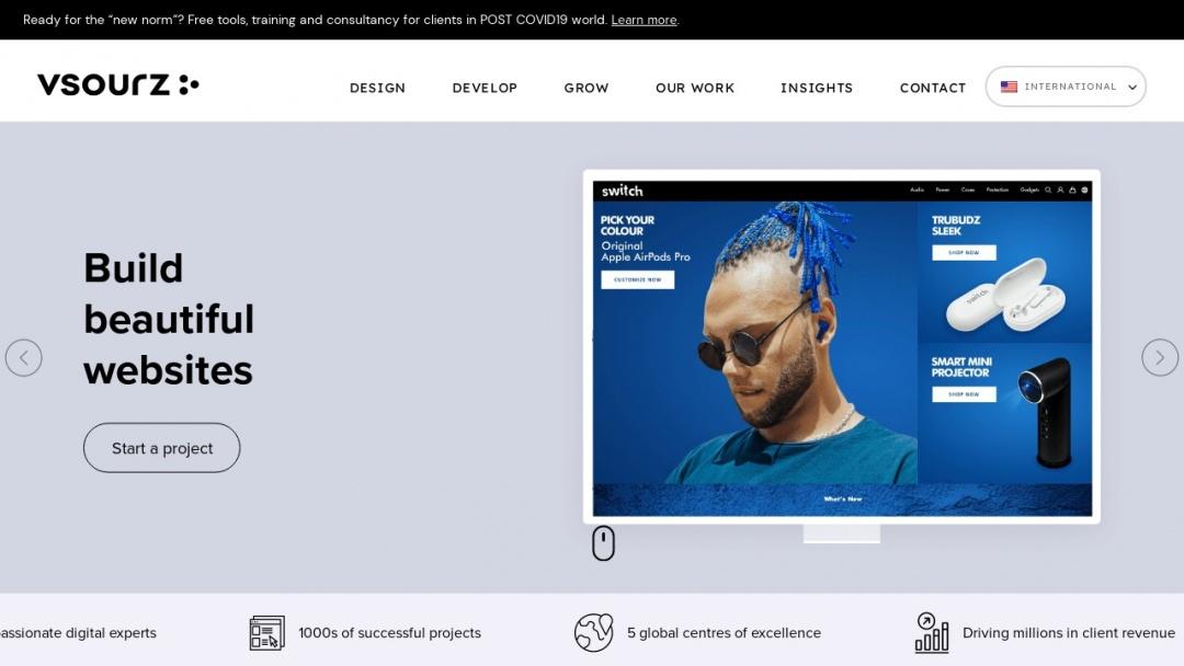 Screenshot of Vsourz's Website