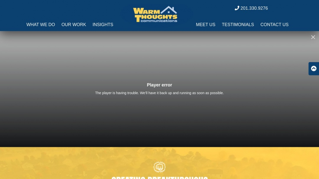 Screenshot of Warm Thoughts Communications's Website