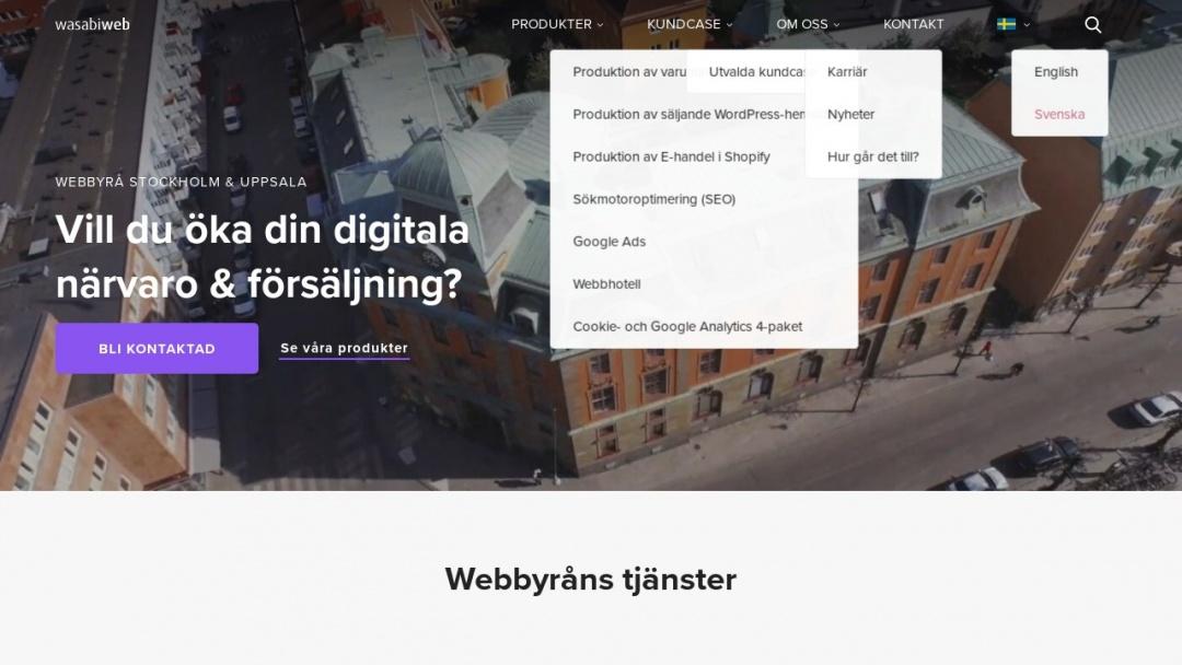 Screenshot of Wasabi Web's Website