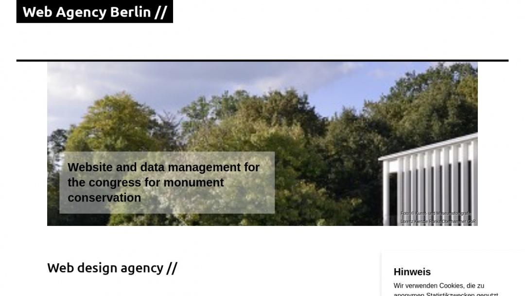 Screenshot of Web Agency Berlin's Website