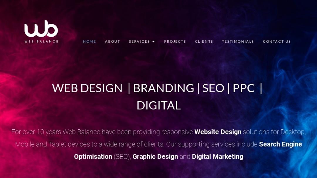 Screenshot of Web Balance Ltd's Website