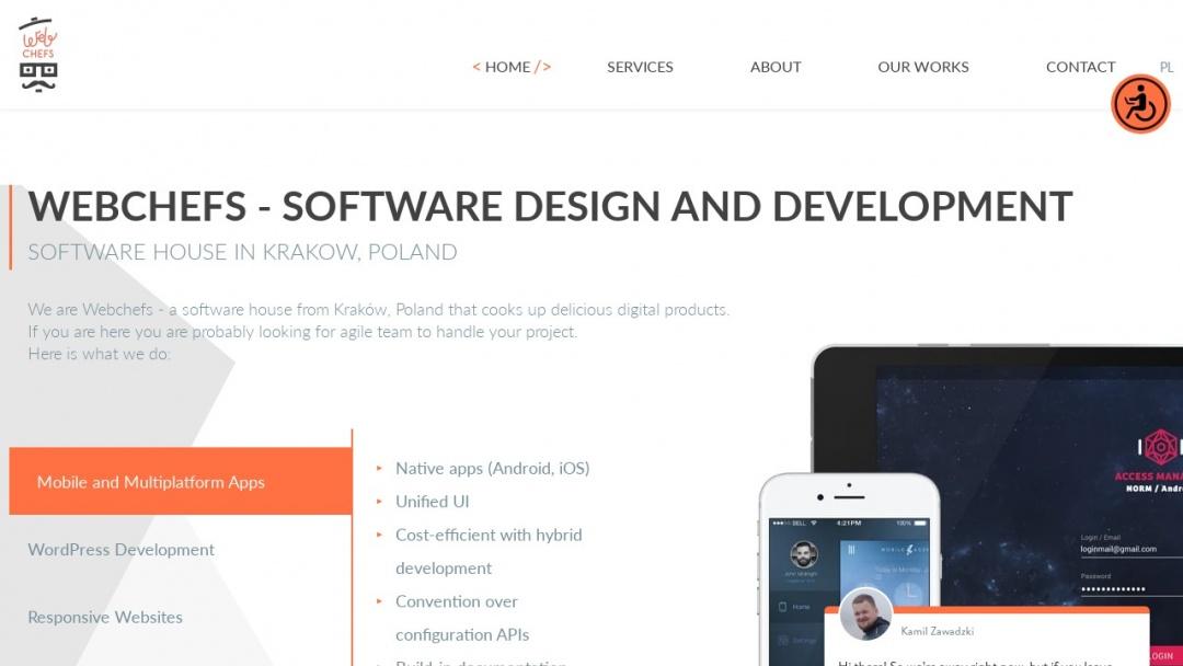 Screenshot of Webchefs Software House's Website