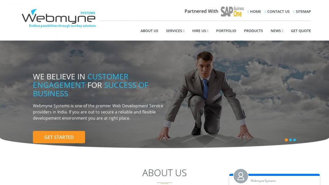 Screenshot of Webmyne Systems Pvt Ltd's Website