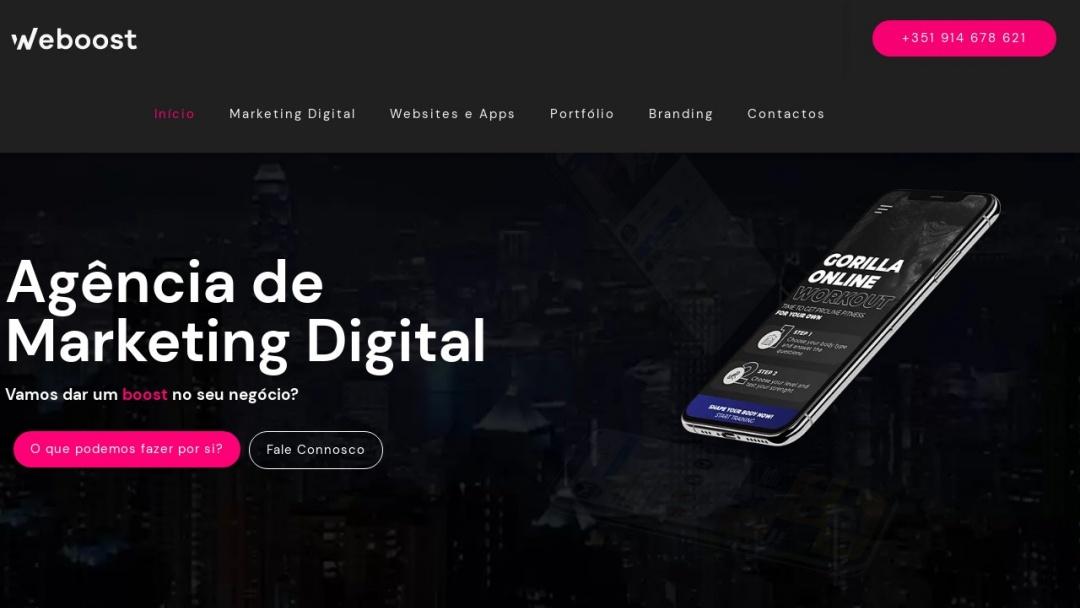 Screenshot of Weboost Agência de Marketing Digital's Website