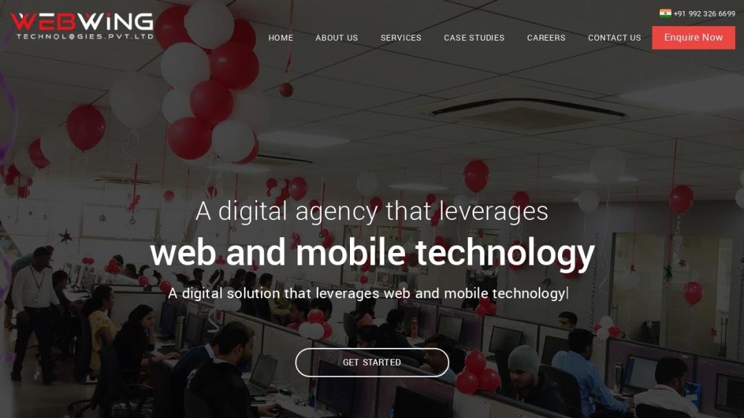 Screenshot of Webwing Technologies Pvt. Ltd.'s Website