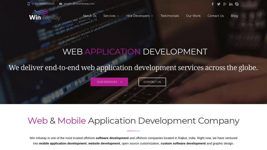 Screenshot of Win Infoway's Website