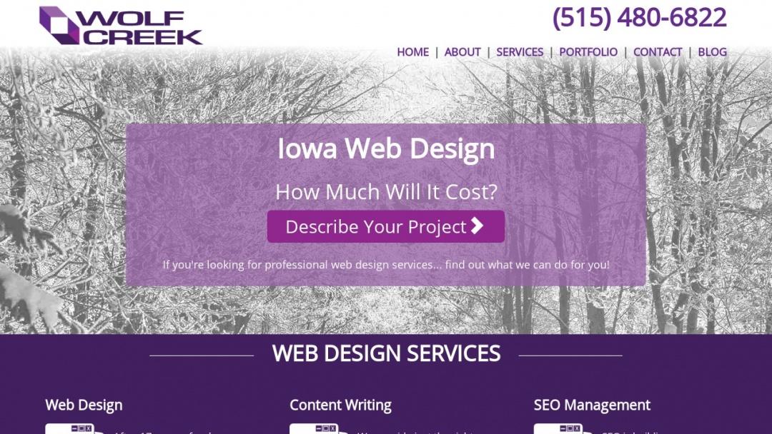 Screenshot of Wolf Creek Technology's Website