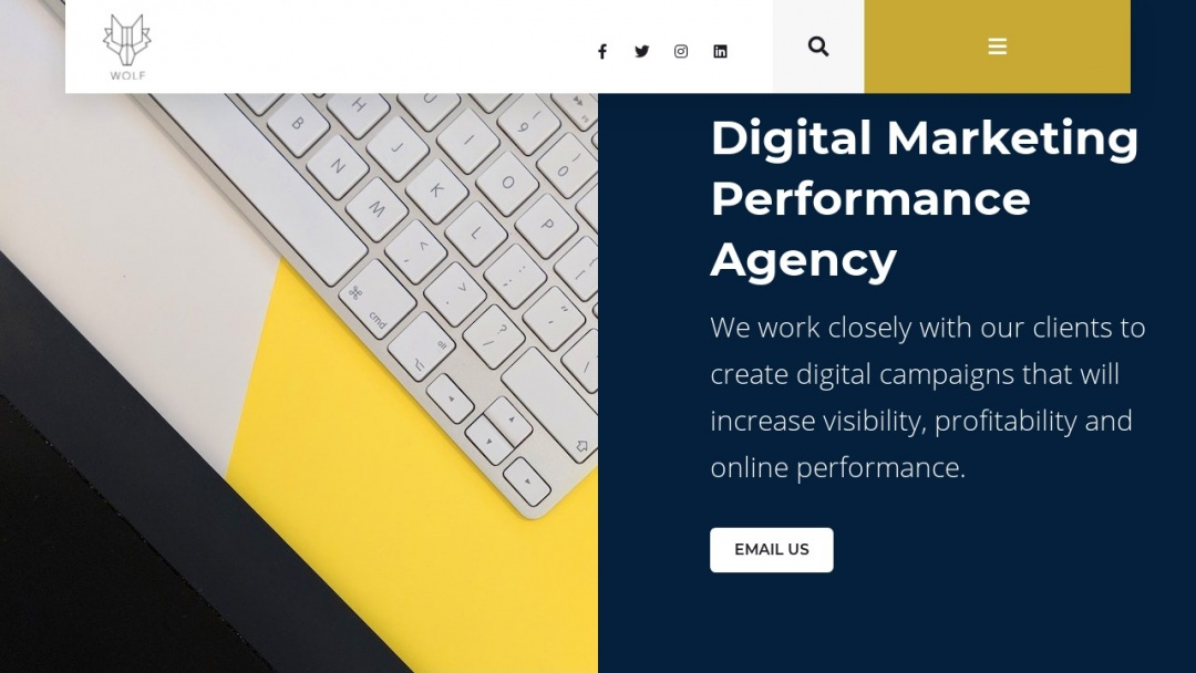Screenshot of Wolf Digital Marketing's Website