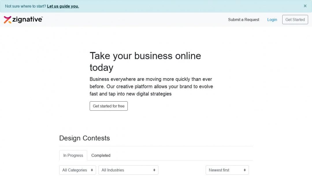 Screenshot of Zignative's Website