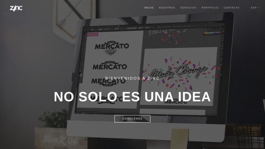 Screenshot of Zinc's Website