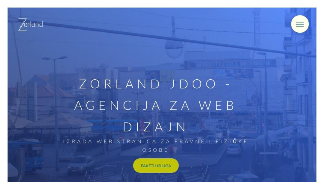 Screenshot of Zorland j.d.o.o.'s Website