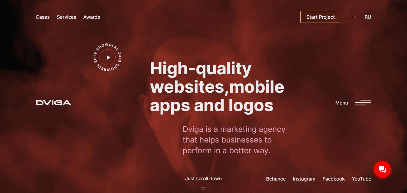 Best Marketing Agency Website for Dviga Marketing