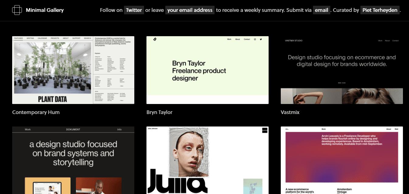 Best Web Design Company Website for Minimal Gallery