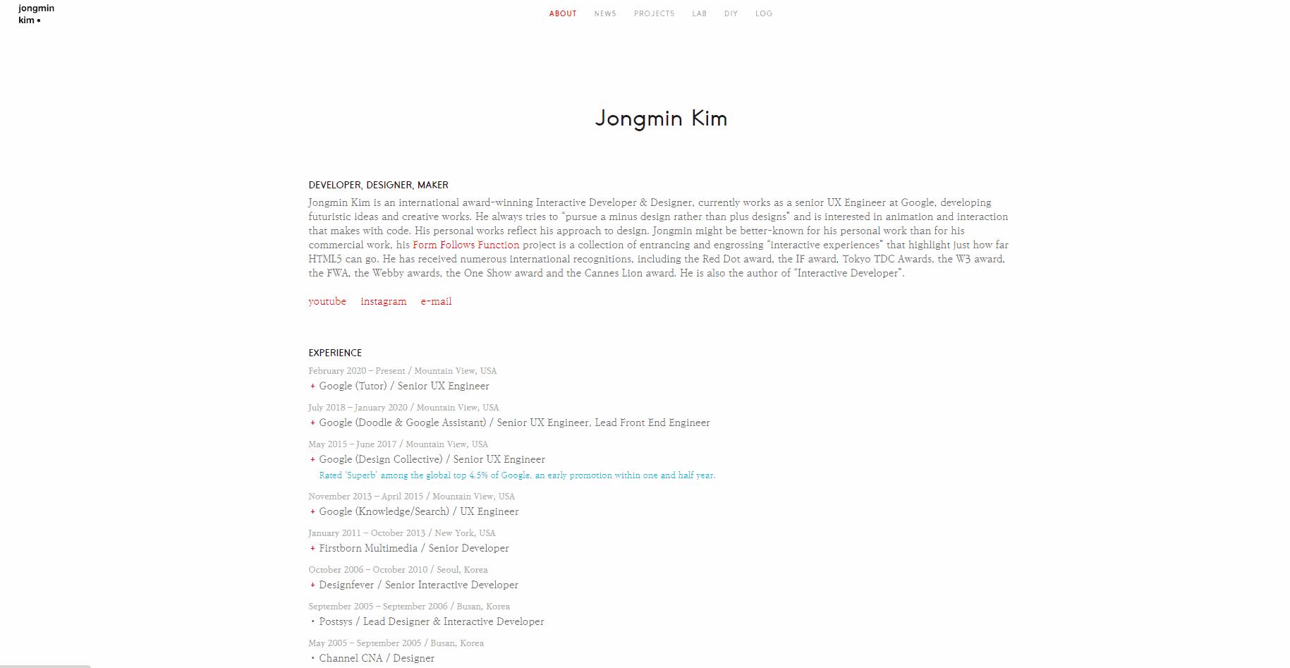 Best Agency Website for Jongmin Kim
