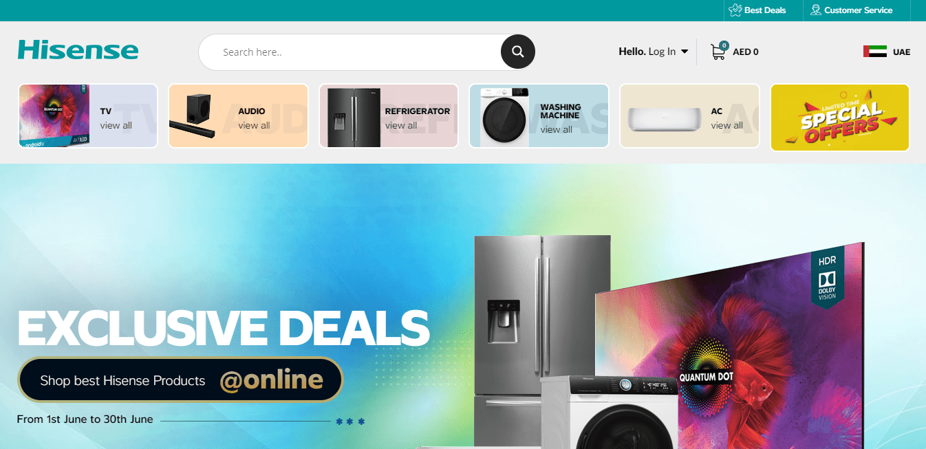 Best Ecommerce Website for Hisense Inc.