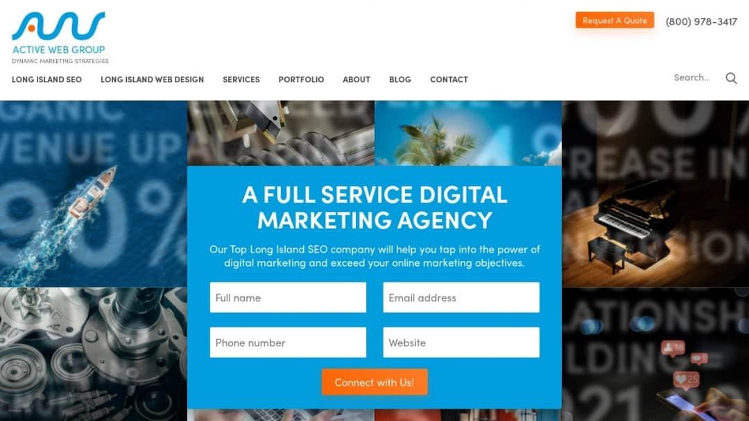 Screenshot of Active Web Group's Website