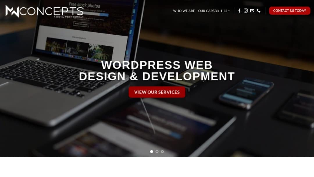 Screenshot of MW Concepts's Website