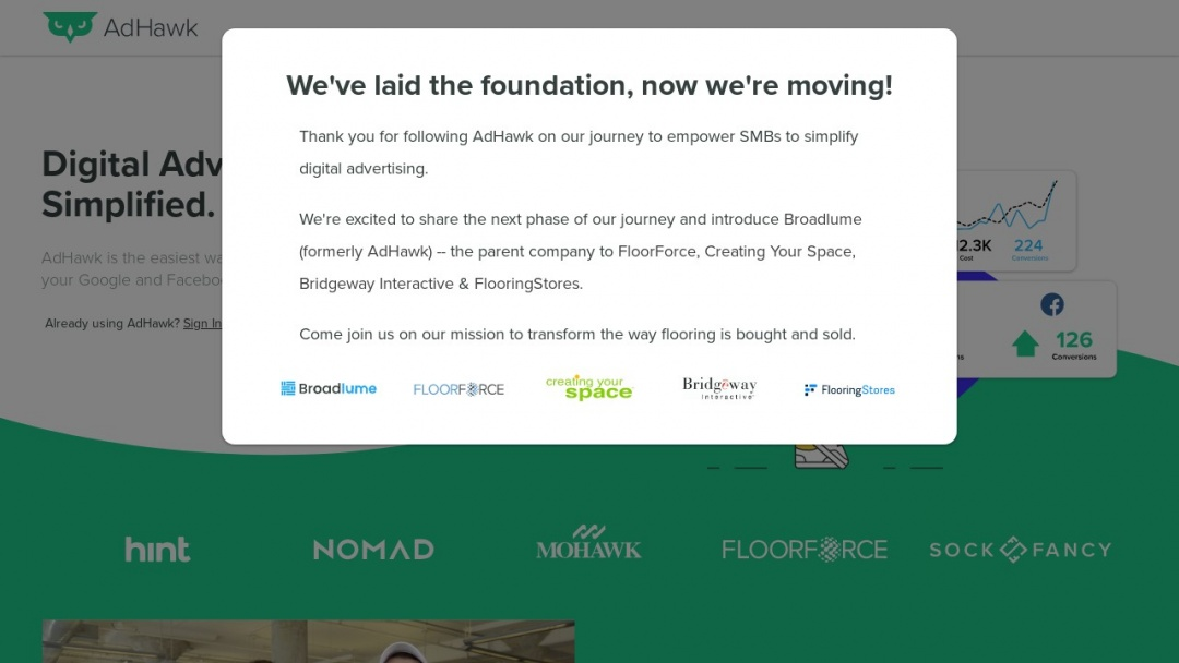 Screenshot of AdHawk's Website