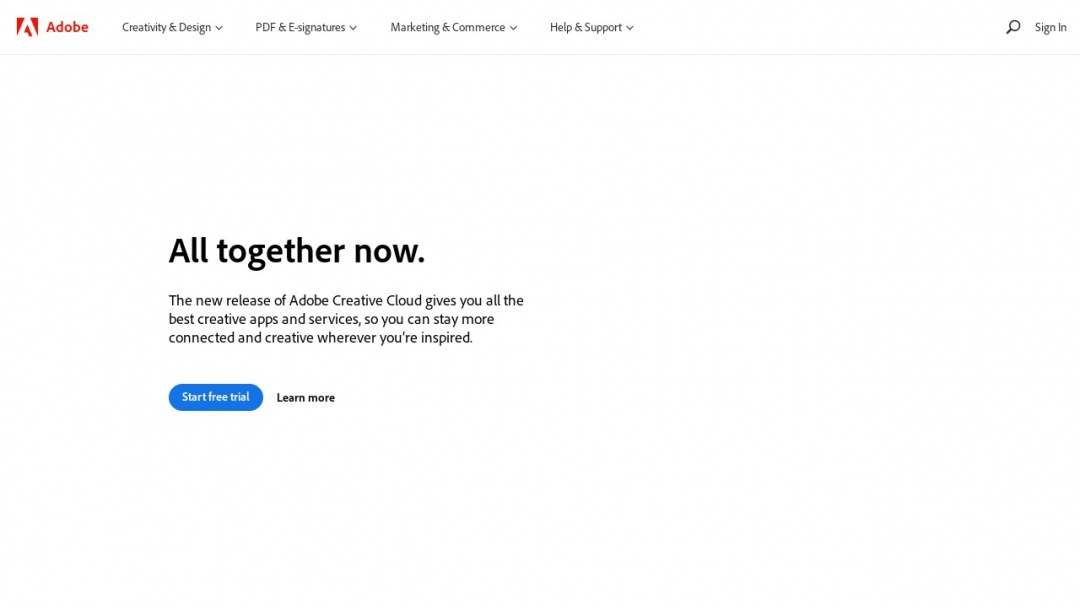Screenshot of Adobe's Website
