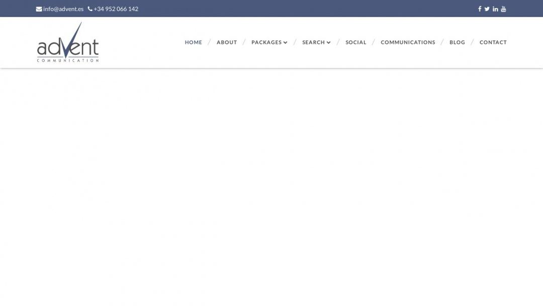 Screenshot of Advent Communication's Website