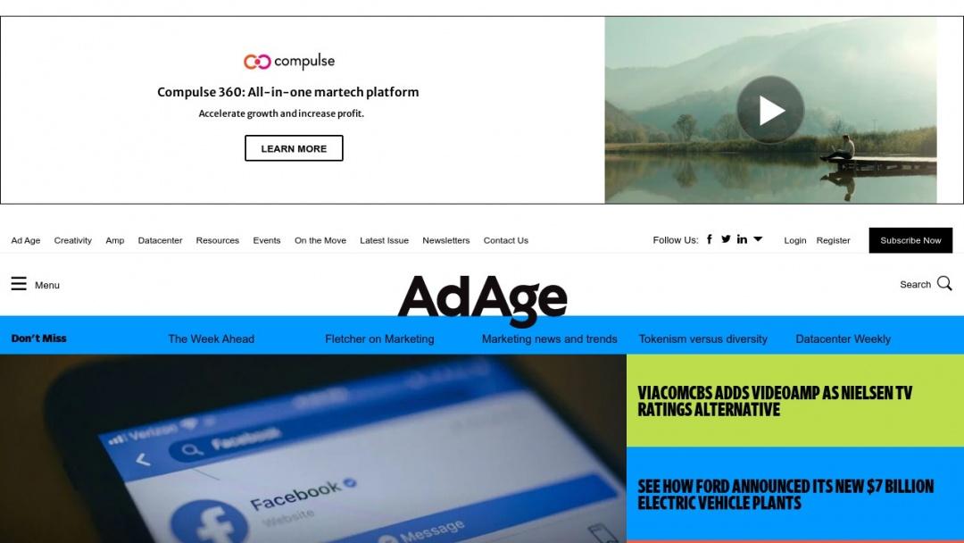 Screenshot of Advertising Age's Website