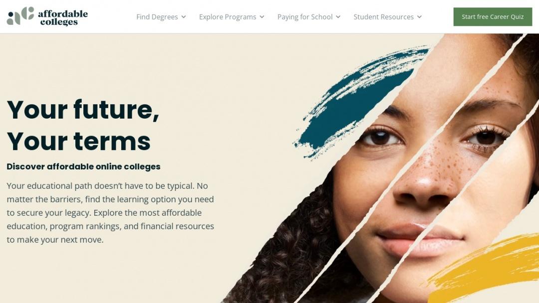 Screenshot of Affordable Colleges Online's Website