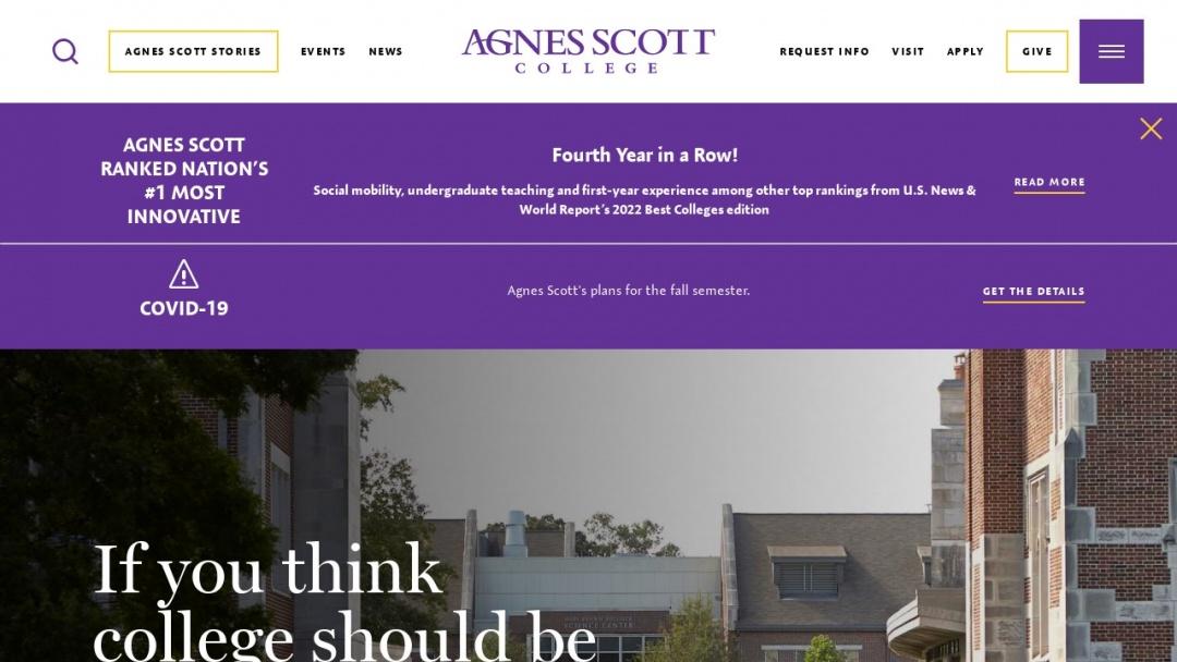 Screenshot of Agnes Scott College's Website