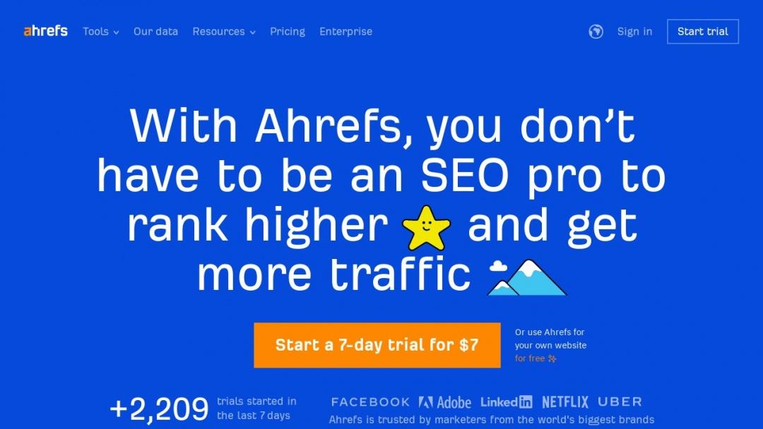 Screenshot of Ahrefs's Website