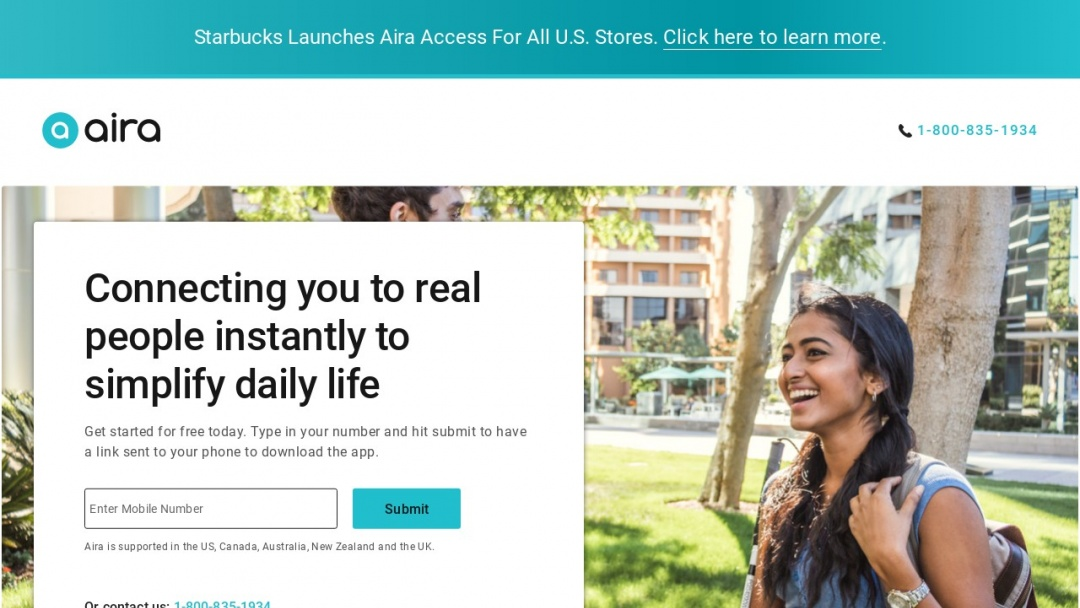 Screenshot of Aira's Website