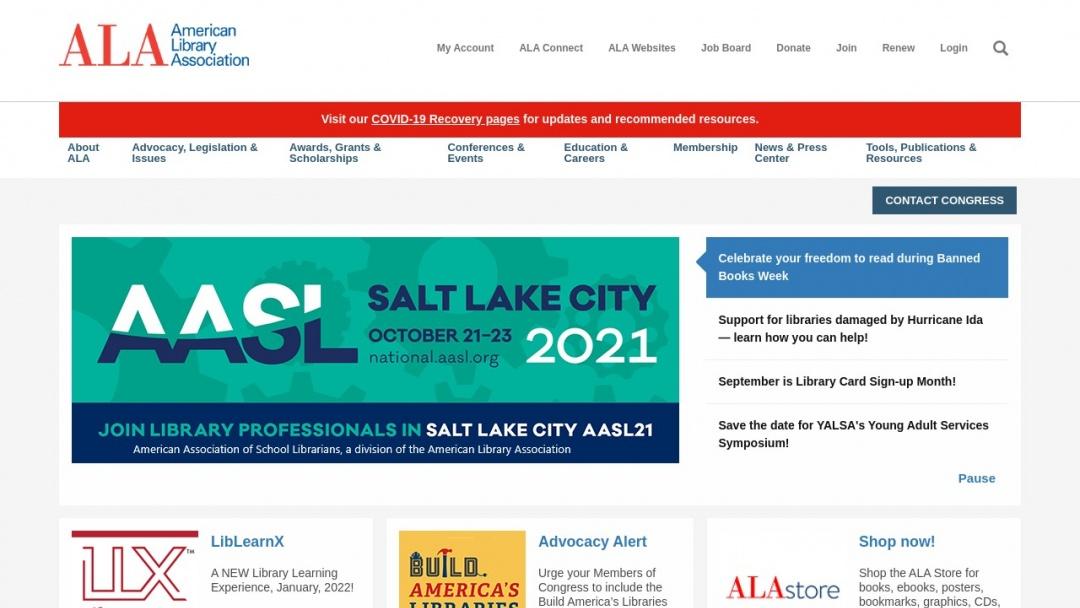 Screenshot of American Library Association's Website