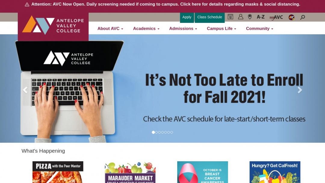 Screenshot of Antelope Valley College's Website