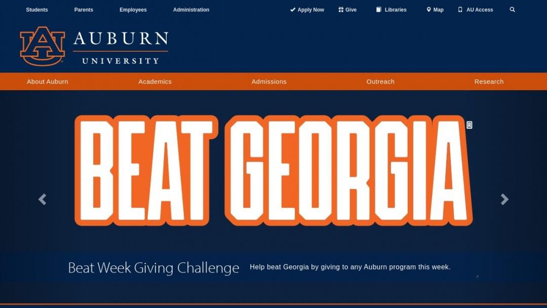 Screenshot of Auburn University's Website